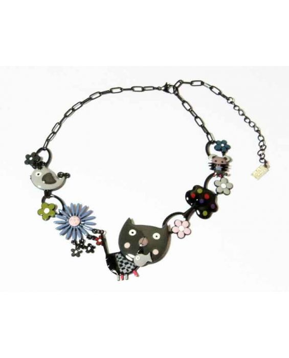 ARTICLES DE PARIS 'CAT HEAD' NECKLACE - GREY
