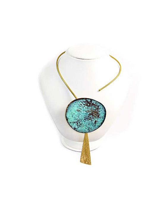 ExNovo Bijoux Cuff Brass Necklace - Gold/Aqua