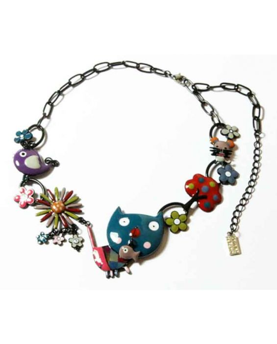 ARTICLES DE PARIS 'CAT HEAD' NECKLACE - TURQUOISE
