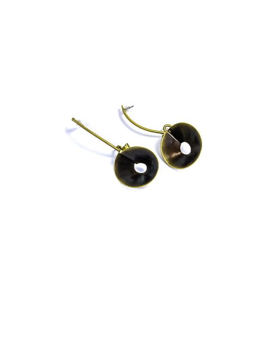 ExNovo Bijoux Brass Earrings - Gold/Brown
