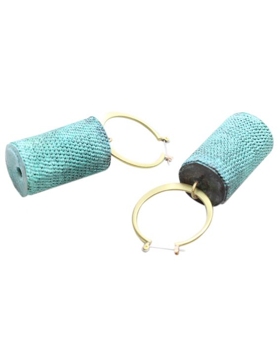 ExNovo Bijoux Barrel and Hoop Brass Earrings - Aqua