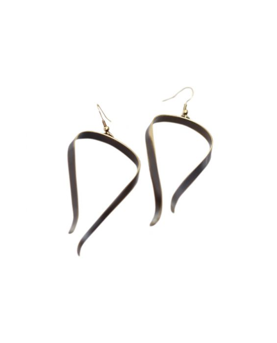 ExNovo Bijoux Oblong Brass Earrings  - Brown/Gold