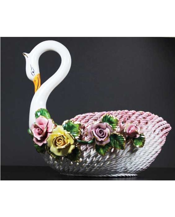 Ceramiche d'Arte Ceramic 'Swan' Woven Fruit/Bread Basket - White/Pink
