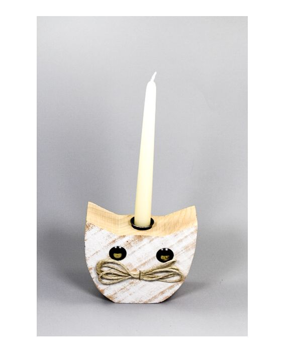 Centro del Mutamento Cat Face Wooden Candle Vase - Wood