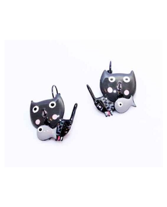 ARTICLES DE PARIS - 'CAT HEAD' EARRINGS - GREY