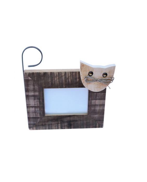 Centro Del Mutamento 'Cat Face/Tail' Picture Frame - Natural Wood