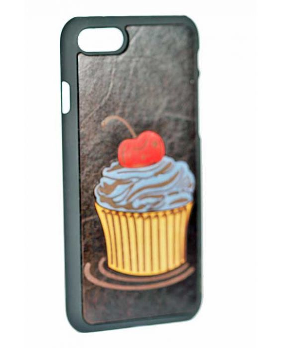 EEVYE 'CUP CAKE' iPHONE 7 LEATHER CASE - DARK BROWN