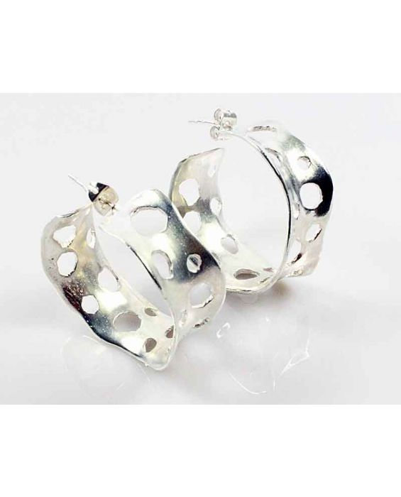 CATHERINE BIJOUX 'HOOP' EARRINGS - SILVER