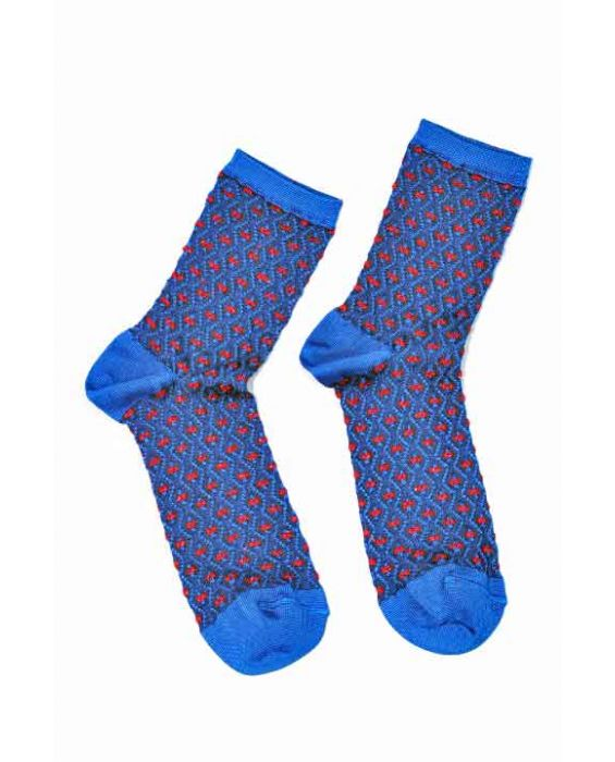 Alto Milano Women 'Zig Zag' Short Socks - Blue