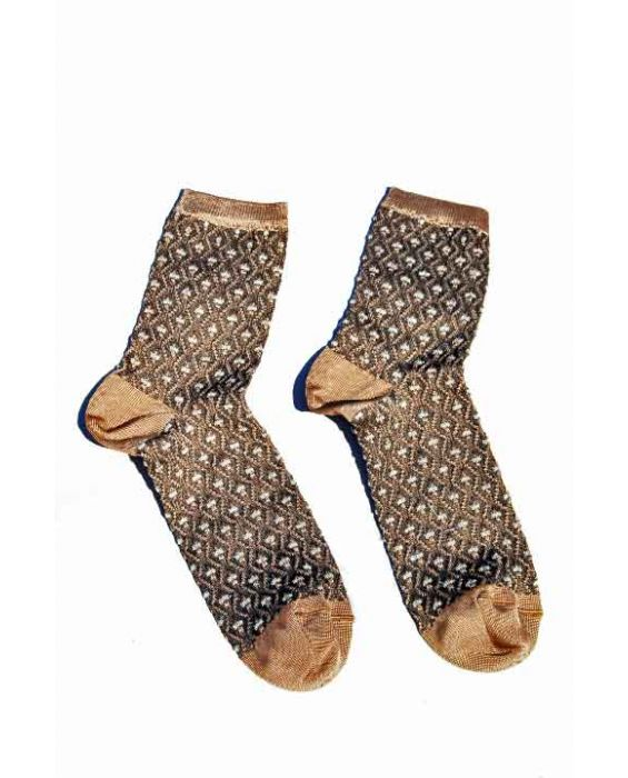 Alto Milano Women 'Zig Zag' Short Socks - Brown