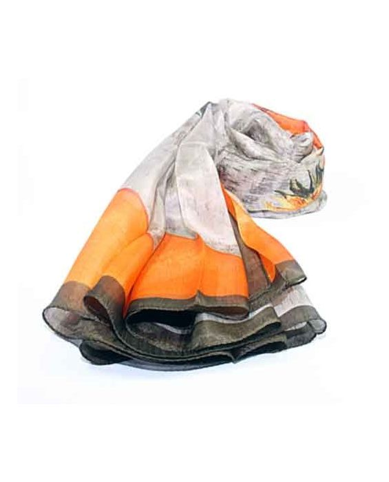 Articles de Paris - 'Sunflower' Scarf - Taupe/Orange