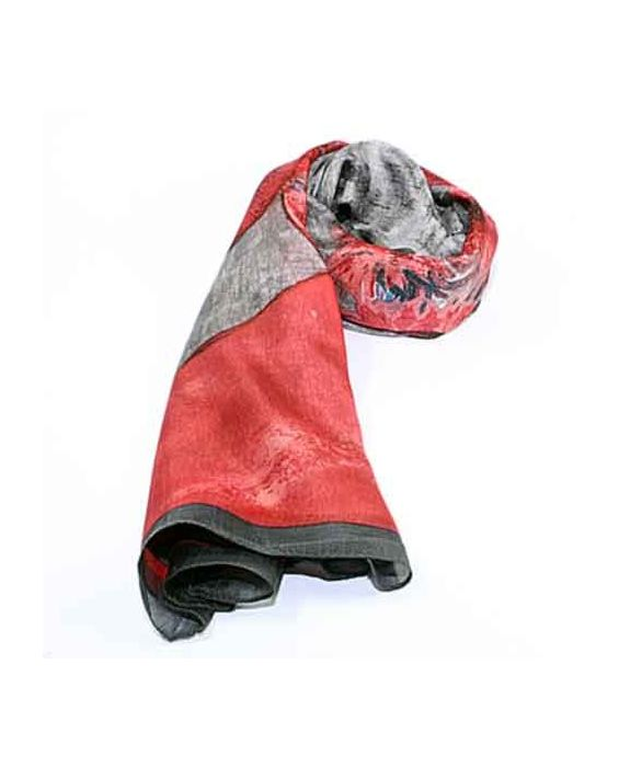 ARTICLES DE PARIS 'FLORAL PRINT' SCARF - RED/DARK GREY