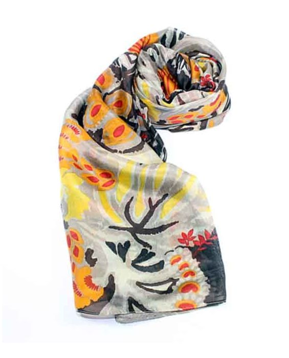 ARTICLES DE PARIS - 'FLOWERS' SCARF - TAUPE