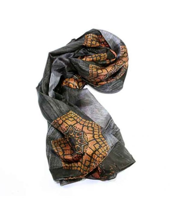 Articles de Paris - 'Geometric' Scarf - Dark Grey
