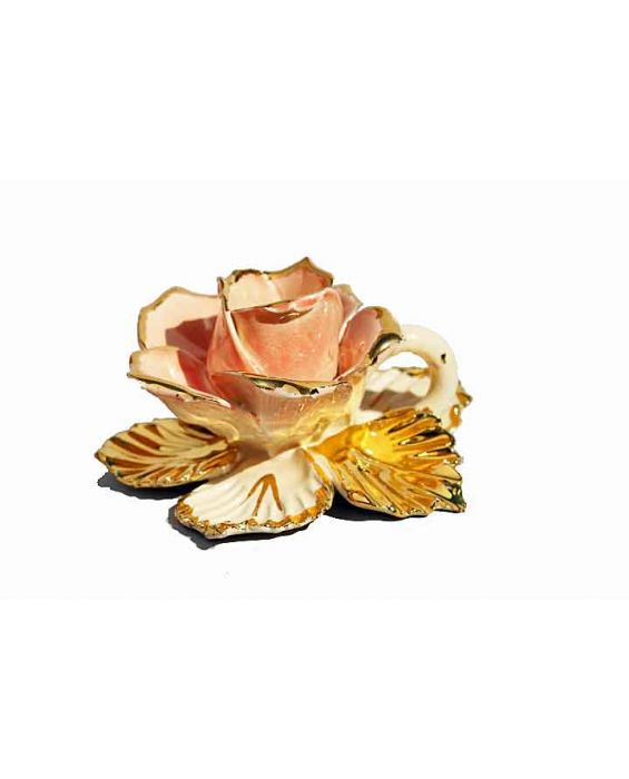 Ceramiche d'Arte Salmon Rose Candle Holder - Salmon/Gold