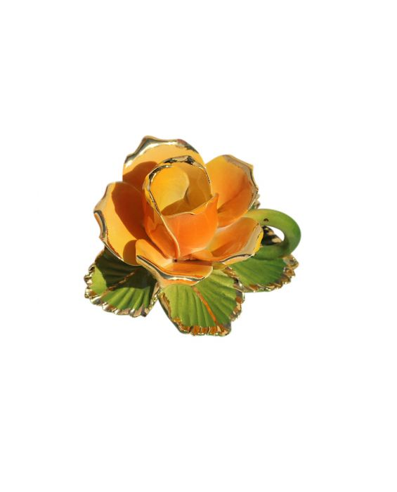 Ceramiche d'Arte Yellow Rose Candle Holder - Yellow/Gols
