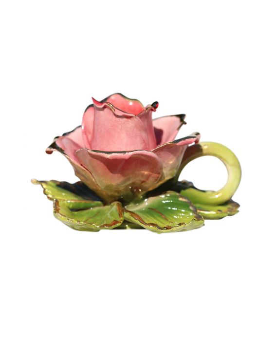 Ceramiche d'Arte Pink Rose Candle Holder - Pink/Gold