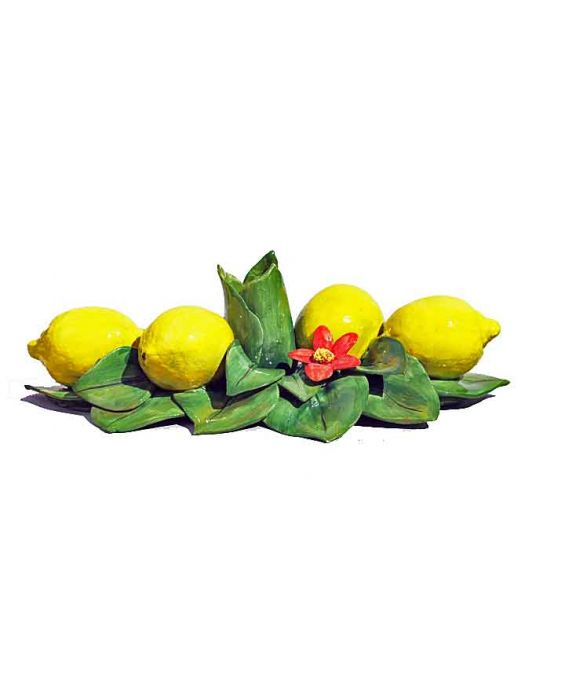 Ceramiche d'Arte Lemon and Leaf Ceramic Candle Holder - Green/Yellow