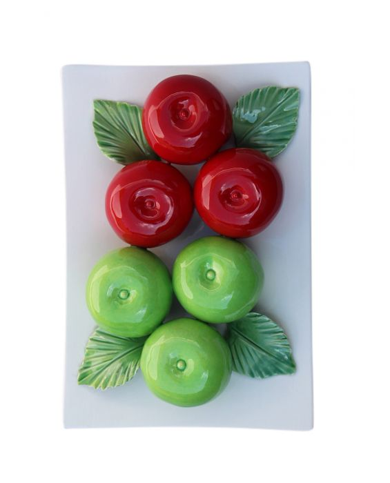 Ceramiche D'Arte 'Apples' Ceramic Wall Plaque