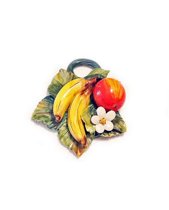 Ceramiche D'Arte Small Ceramic Apple/Banana Wall Plaque