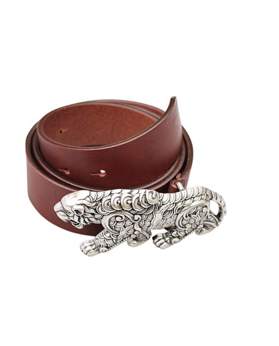Lulaes Calf Leather Belt - Dark Brown