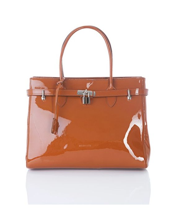 MINNOZZI - BROWN PATENT LEATHER TOTE