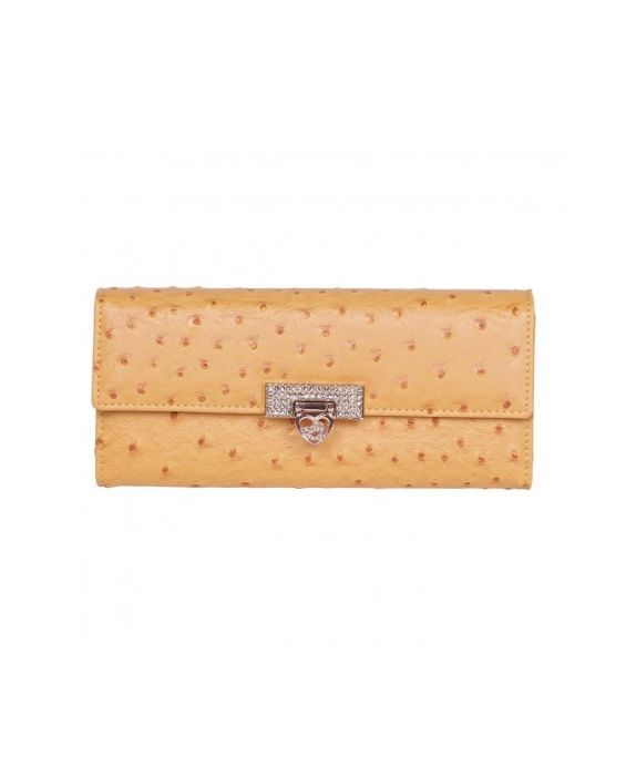 CLAUDIA CANOVA OSTRICH DIAMANTE PURSE