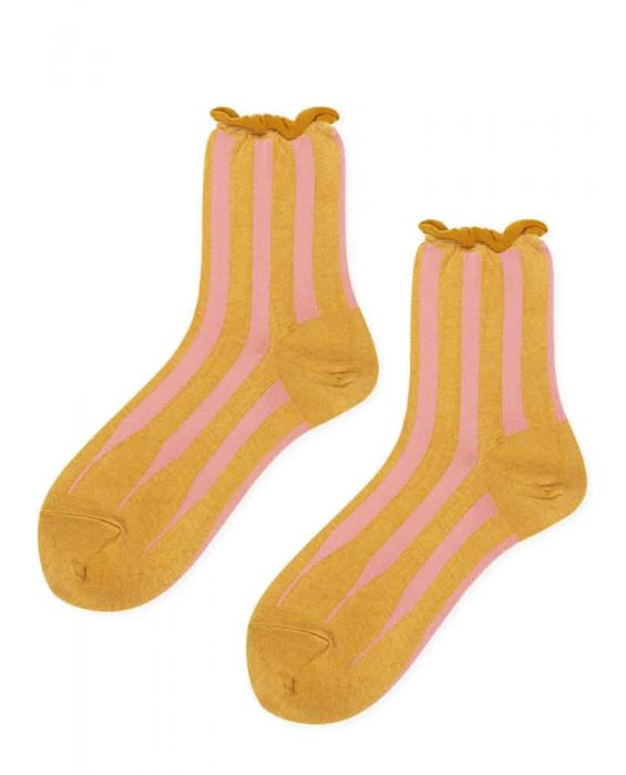 Hansel from Basel 'Pleat' Short Crew Socks - Mustard