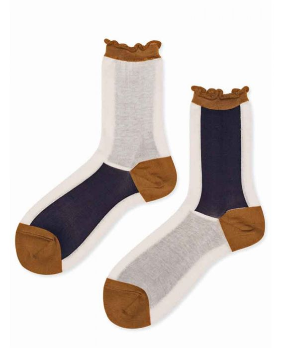 Hansel from Basel 'Colourblock' Crew Socks - Blush
