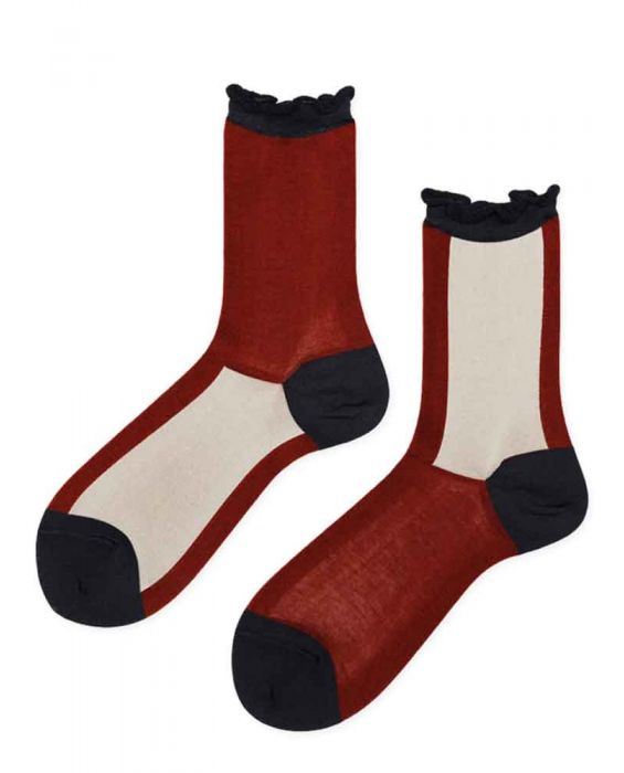 Hansel from Basel 'Colourblock' Crew Socks - Terracotta