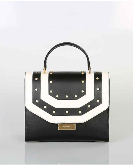 Visone Medium 'Angie' Leather Tote - Black/White