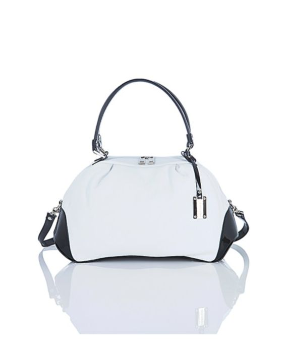 Giordano – White and Black Leather Satchel