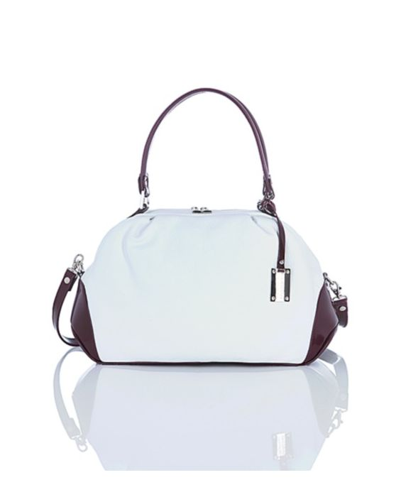 Giordano – White and Wine Leather Satchel